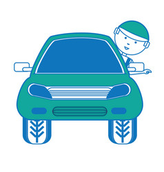 cartoon mechanic and car icon vector image vector image