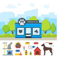 cartoon veterinary clinic building and elements vector image vector image