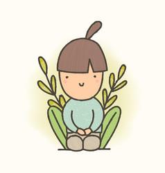 cute cartoon sitting girl vector image