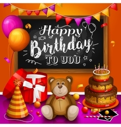 Happy birthday greeting card Colorful gift box vector image