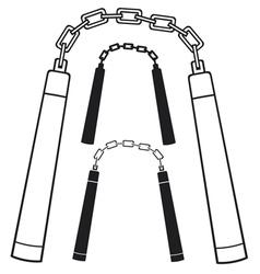 nunchaku weapon vector image vector image