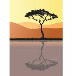 tree silhouette and water vector image vector image