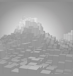 abstract landscape with gray cubes vector image