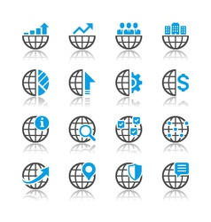 Business icons reflection vector image vector image
