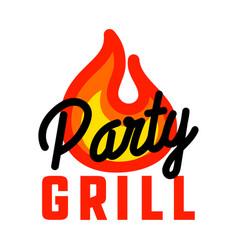 Color vintage grill party emblem vector