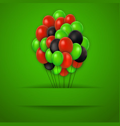 colorful balloons red background vector image