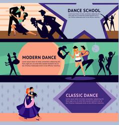 colorful dancing people horizontal banners vector image