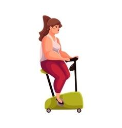 Fat woman doing cycling workoutl cardio vector image vector image