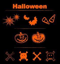 Halloween icons logos design elements and text vector image vector image