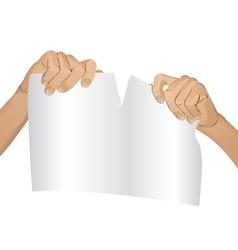 Man hands tear paper version 1 vector image