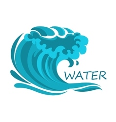 Ocean wave symbol with foam and splashes vector image vector image