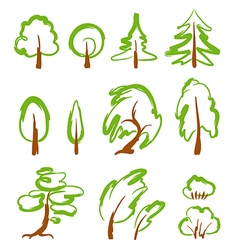 Set of sketchy stylized trees vector image vector image