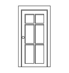 silhouette closed white entrance door vector image