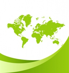 world map green background vector image