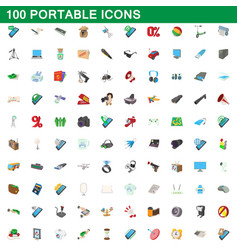 100 portable icons set cartoon style vector