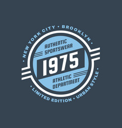 1975 athletic department - typography vintage logo vector image