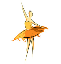 Abstract drawing of a girl in orange dress vector