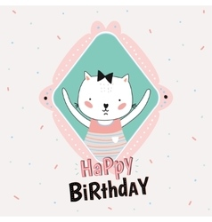 Animal Birthday greeting card design vector