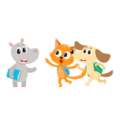 Animal student characters hippo meeting cat dog vector