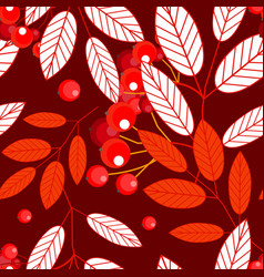 Autumn seamless pattern with openwork ashberry vector