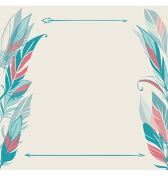 background with hand drawn feathers vector image