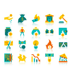 bankruptcy simple flat color icons set vector image