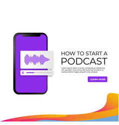 Banner how to start a podcast social media post vector