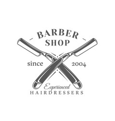 Barbershop label isolated on white background vector