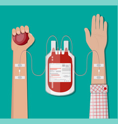 Blood bag at holder and hand of donor vector
