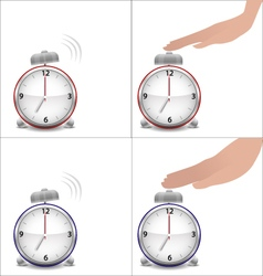 Boy and girl hands and stopped alarm clock vector image