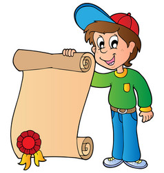 boy holding diploma vector image
