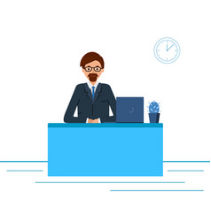 business man in a suit working on a laptop vector image