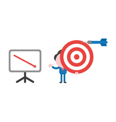 Businessman character holding bulls eye with dart vector