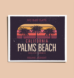 California palms beach graphic for t-shirt prints vector