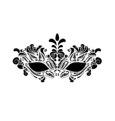 Carnival mask icon black silhouette isolated vector