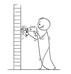 cartoon of man using power drill to create hole vector image