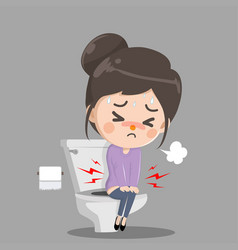 Caucasian girl sitting on toilet bowl and vector