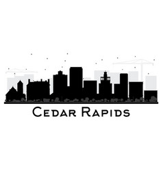 Cedar rapids iowa skyline black and white vector