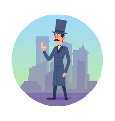 Circle with gentleman at backdrop buildings vector