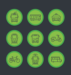 City transport transit van cab bus icons set vector