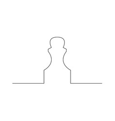 Continuous one line chess piece or chessman pawn vector