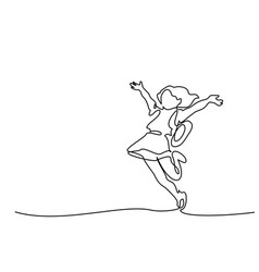 Continuous one line drawing happy girl running vector