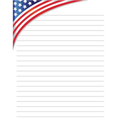 Copybook sheet lined with american flag vector