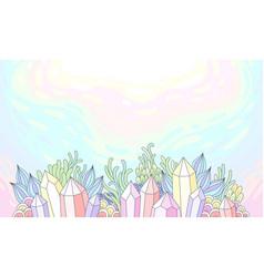 crystals and fantastic plants vector image