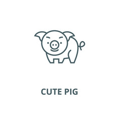 cute pig line icon cute pig outline sign vector image