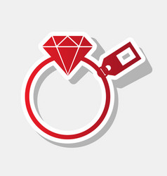 diamond sign with tag new year reddish vector image vector image