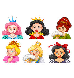 Different characters of queens and princesses vector