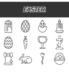 Easter icons set over white vector image