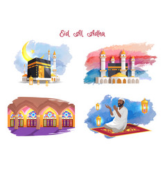 Eid al adha muslim holiday thematic pictures set vector