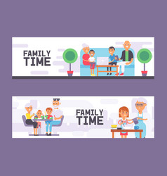 family time set vertical banners vector image